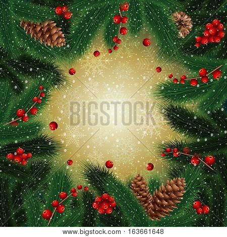 Illustration of Christmas decoration with frame from fir tree branches fir cones mistletoe and snowflake background