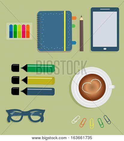 Stationery: Blue day planner spiral-bound with cute polka dots and color tabs. Stiсkers. Markers. Dark blue glasses. Pencil. Clips. Mobile phone. Smartphone. A cup of coffee with a heart. Vector illustration.