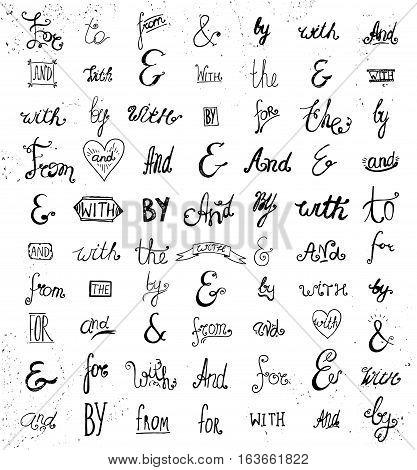 Big vector collection of hand sketched ampersands and catchwords. Handsketched set of design elements. And, the, for, from, with, etc