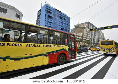 LIMA PERU - August 23 2016: Traffic in street of Lima Peru on August 23 2016. Lima is capital city of Peru South America.