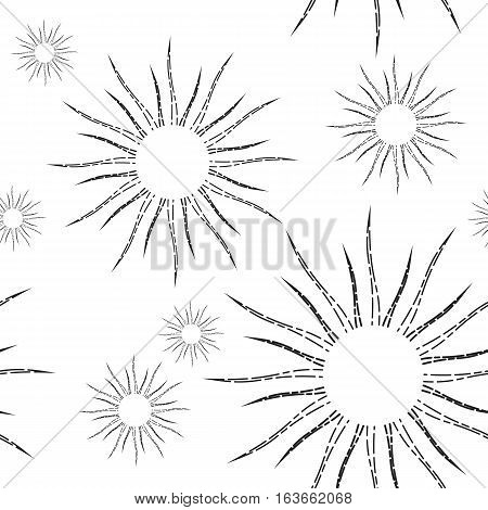Sunshine rays seamless pattern in vintage style. Sunburst linear drawing texture. Retro stylized symbols of sun continuous background. Sunlight outline vector art in black and white colors.