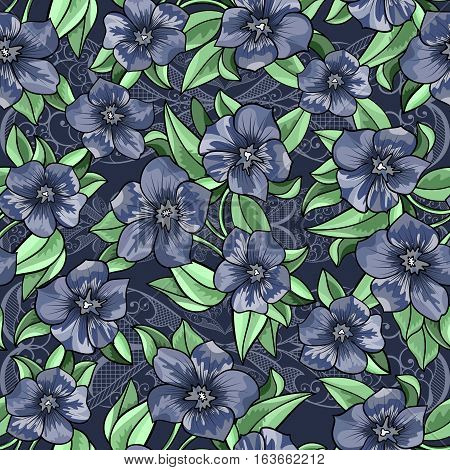 Illustration of seamless floral pattern with leaves and flowers on lacy background