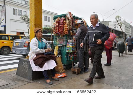 LIMA PERU - August 23 2016: Unidentified people in street of Lima Peru on August 23 2016. Lima is capital city of Peru South America.