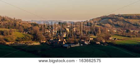 Upper Swainswick village near Bath, Somerset, UK. Small village and civil parish 3 miles north east of Bath nestled between Charmy Down and Little Solsbury hills
