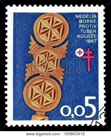 YUGOSLAVIA - CIRCA 1967 : Cancelled postage stamp printed by Yugoslavia, that promotes fight against Tuberculosis.