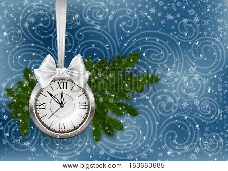 Illustration of Christmas or New Year decoration with clock bow fir tree branches snowflake background and snowstorm ornament