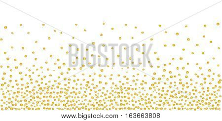 Abstract background of random falling golden dots on white. Hand drawn by markers confetti pattern. Suitable for textile, wrapping design, greeting cards etc. Vector eps8 illustration.