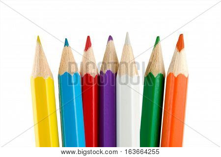 Colour crayons isolated on a white background