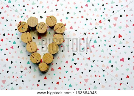 Heart shape made with varying sized corks