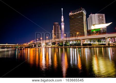 Night Light View Of Sumida River, Tokyo, Japan.