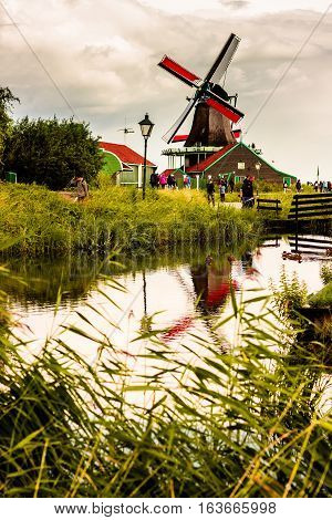 Nature And Windmills In Zaanse Schans, North Holland, Netherlands. Popular Tourist Destination In Ne