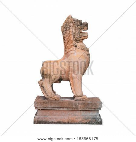 Carved stone lion asian art isolated on white background.