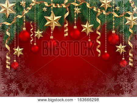 Illustration of Christmas or New Year decoration with fir tree branches balls gold stars beads paper streamers and snowflake background