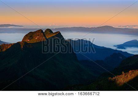 Sunrise Landscape Of Foggy.