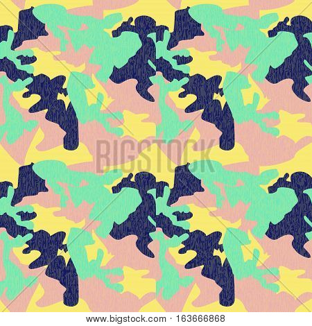 Camouflage pattern background seamless clothing print repeatable camo glamour grunge of scratch vector. Yellow navy pink green