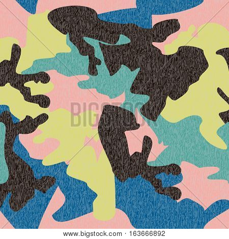 Camouflage pattern background seamless clothing print repeatable camo glamour grunge of scratch vector. Pink lime green