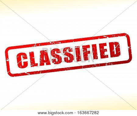 Illustration of classified text buffered on white background