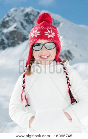 Happy girl on winter vacation