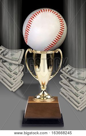 Baseball trophy and lots of  American Cash.