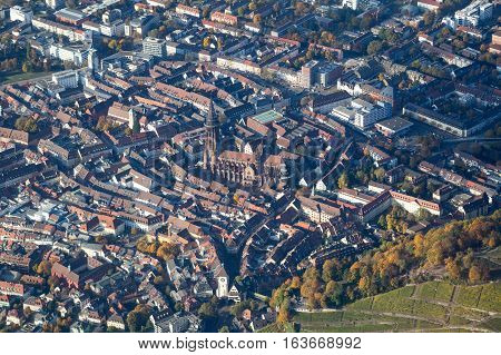 Aerial view of the city center in Freiburg Germany with the Minster