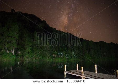 Landscape of Milky way over reservoir with mountain and deep forest at night sky.