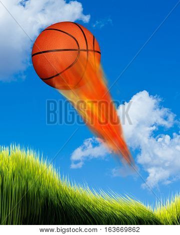 Basketball on fire flying fast in the sky.