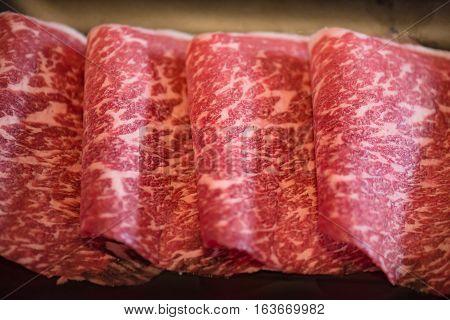 Close up of japan a5 beef called Hida wagyu for sukiyaki and shabu in japanese restuarant at hida takayama japan.