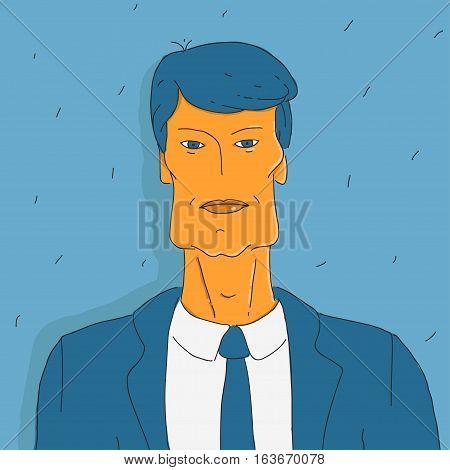 Vector Illustration Portrait Doodle Man in Suit eps 8 file format