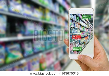 Augmented reality in retail business concept application in supermarket for discounted or on sale products. poster