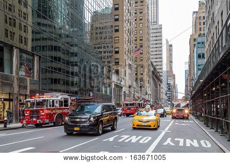 New York, United States of America - November 20, 2016: Several fire trucks standing in front of Grand Central Market in Manhattan