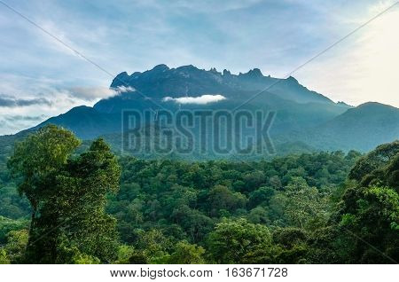 The Majestic Mountain Kinabalu in the morning at the National park Kinabalu,Ranau,Sabah,Borneo.Mount Kinabalu is the tallest mountain in Malaysia and the 20th tallest in the World.