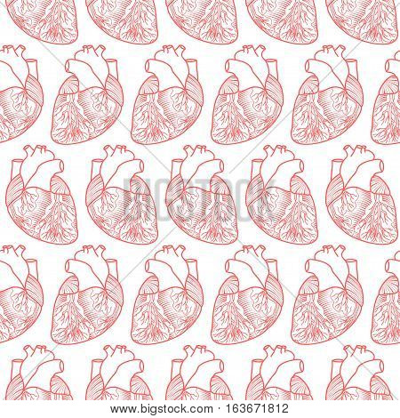 Seamless Pattern Made Of Anatomic Hearts On White Background