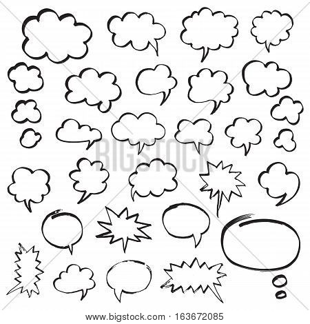 Set of speech bubbles and thought clouds. Black shapes isolated on white. Hand drawn by felt pen vector symbols in eps8.