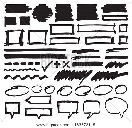 Set of hand drawn marker highlighter marks, stripes, frames, speech bubbles and strokes. Felt pen vector design elements in eps8 format.