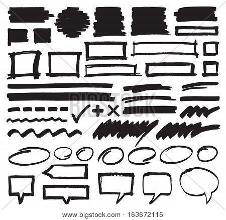 Set of hand drawn marker highlighter marks, stripes, frames, speech bubbles and strokes. Felt pen vector design elements in eps8 format.