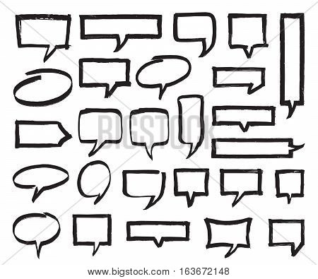 Set of marker speech bubbles, marks and pointers. Black highlighter shapes isolated on white. Hand drawn by felt pen vector symbols in eps8.