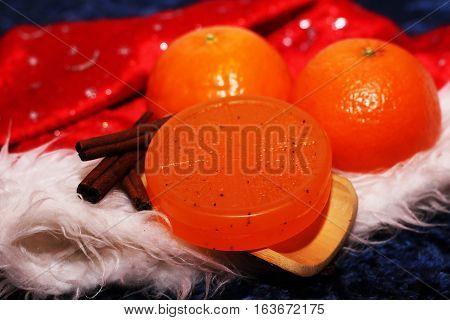Fresh orange orange soap. Clean and care