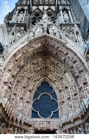One of the portals with vauld of Reims cathedral, Champagne France