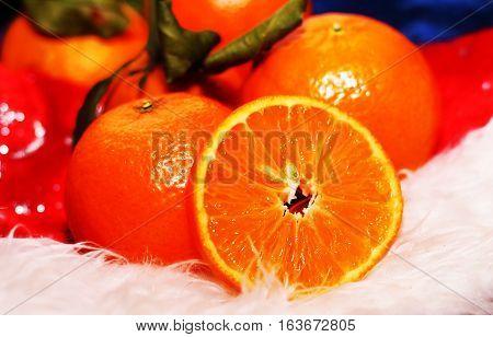 Fresh oranges juicy and bright fruit. Xmas