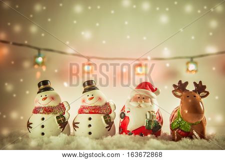 Santa Claus, Reindeer And Snowman Merry Christmas