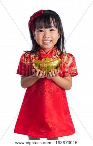 Happy Asian Chinese Little Wearing Cheongsam And Holding Gold Ingot