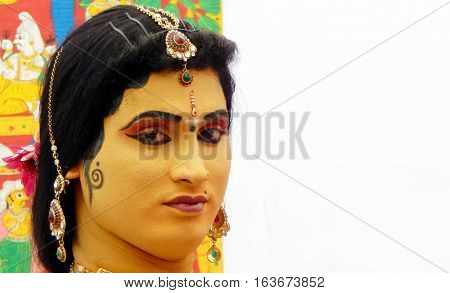 HYDERABAD,INDIA-NOVEMBER 6 :Portrait of an Indian woman folk artist wait to perform the play with makeup during kala mela art show on November ,2016 in Hyderabad,India.