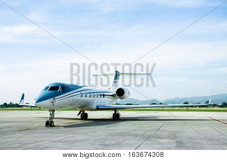 Small Airplane or Aeroplane Parked at Airport.Small Airplane Famous to use Private Airplane.Mountain View.
