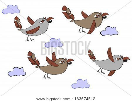 A flock of funny birds - sparrows flying in the clouds. Simple children's illustration with ornament ellementami on a white background.