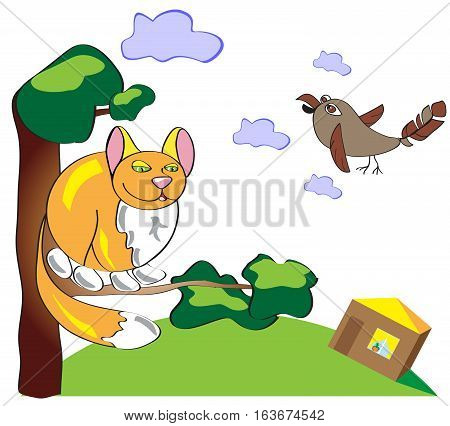 Pick up cat and sparrow on a tree. Funny illustration of a simple and primitive style. Cat and Bird on the background of sky and clouds. House and grass under the tree on which the red cat sitting. Subject composition
