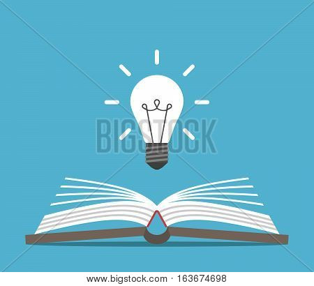 Open book and bright glowing light bulb on blue background. Education idea and insight concept. Flat design. Vector illustration. EPS 8 no transparency