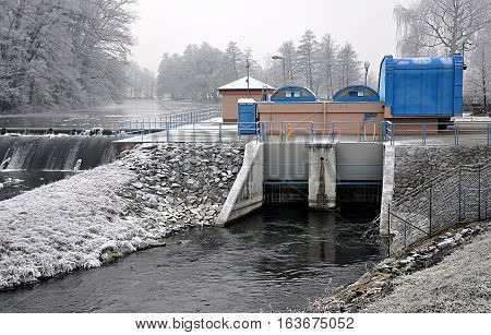 Modern concrete dam and hydroelectric power plants