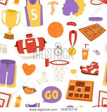 Basketball stickers icons labels seamless patetrn illustration