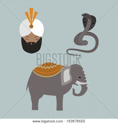 India landmark travel animals and budda vector icons collection. Culture sign design historic hinduism elements. Modern tradition beautiful travel time symbols.
