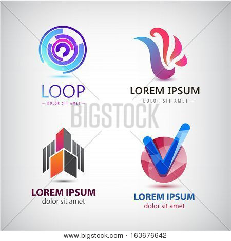 Vector set of abstract logos, company icons isolated. Geometric, loop, tick signs